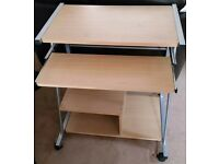 Compact Computer Table with pull out keyboard shelf