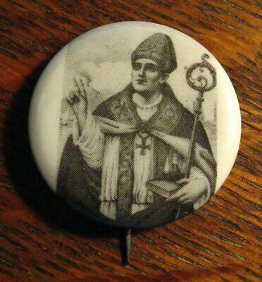 San Gennaro Lapel Pin - Vintage Italian Catholic Church Holy Patron Saint Button