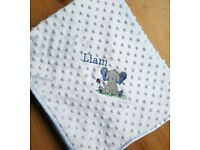Baby Blanket Personalised Embroidered with Name and Elephant