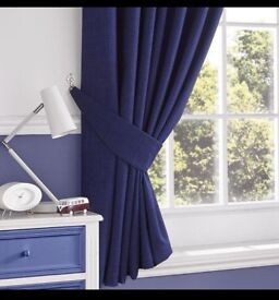 """BRAND NEW PAIR OF SLATE RIDGE LIMA NAVY TAB TOP CURTAINS WITH TIE BACKS 90"""" X 72"""""""