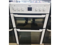 a490 white beko 60cm ceramic hob double oven electric cooker comes with warranty can be delivered