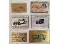 vintage metal car badges.