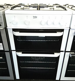 lo74 white beko 60cm double oven gas cooker new graded with 12 months warranty can be delivered
