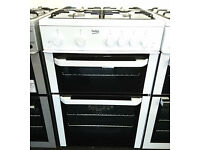 c74 white beko 60cm double oven gas cooker GRADED with 12 months warranty can be delivered or coll
