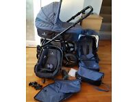 Baby-Toddler 3v1 Pram Travel System Stroller Denim Blue PERFECT CONDITION - VENICCI