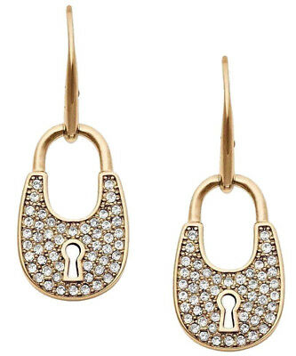 NWT MICHAEL KORS Pave Crystal Padlock Earrings Gold Tone Mkj4889710