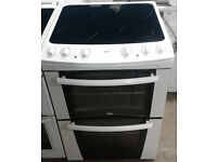 b683 white zanussi 60cm double oven ceramic hob electric cooker comes with warranty can be delivered