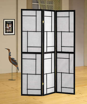 (Three Panel Black Wood Framed Screen Room Divider by Coaster 900102)