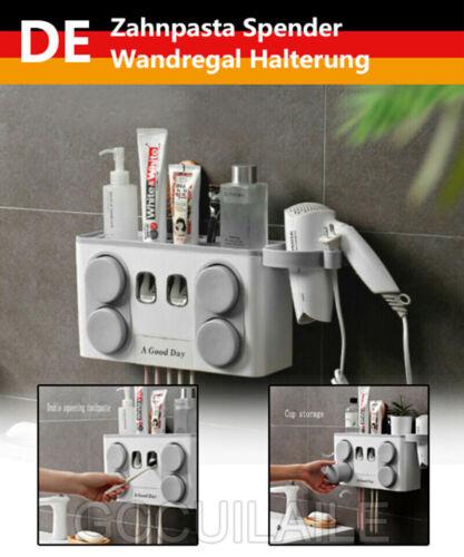 Automatischer Zahnpasta Spender Wandregal Halterung Zahnbürstenhalter Badezimmer