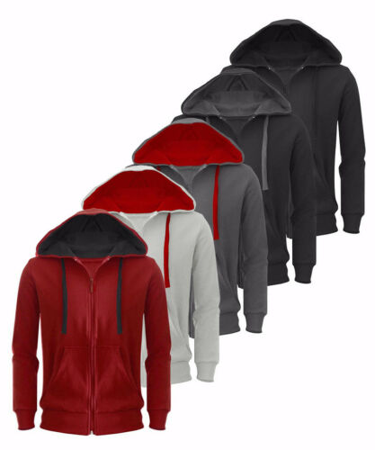 New Plain Mens Sweatshirt Hoodie American Fleece Zip Up Jack