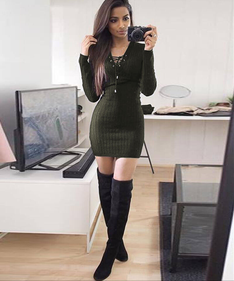 Womens Las Lace Up Knitted Bodycon Jumper Dress Winter Party Dresses Ebay