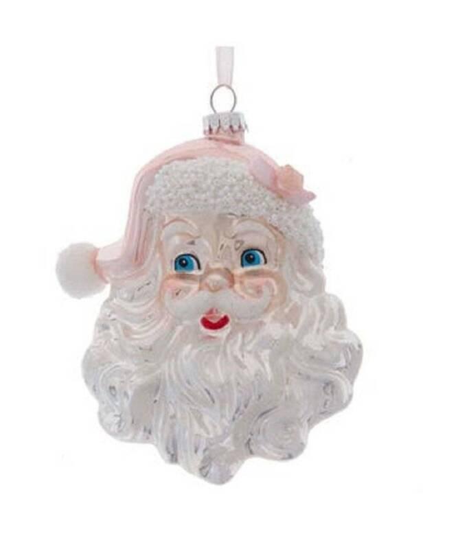 Kurt Adler Christmas Ornament Glass Pink Silver Santa Head Shabby Cottage Chic