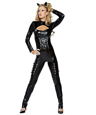 Top Totty Black Leather Women Catwoman Jumpsuit Costume - Catwoman Costume Top