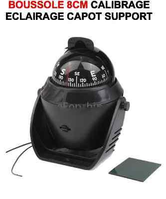 SPECIAL BATEAU BOUSSOLE ECLAIREE SUPPORT+CALIBRAGE+CAPOT DIAM 8cm QUALITE MARINE
