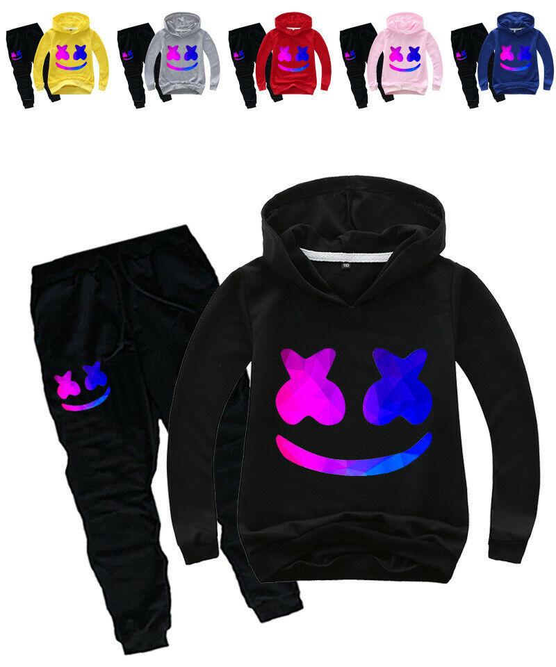 Boy Marshmello DJ Music Kids T-Shirt Children/'s Sportswear Set Gift Age3-14