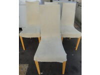 USED STURDY CONDITION, A NICE SET OF 4 WOOD & MATERIAL DINING TABLE WITH WASHABLE COVERS