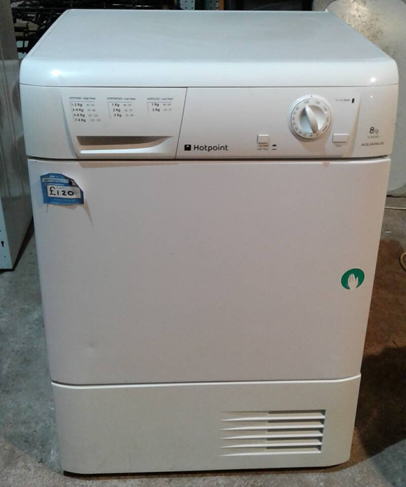 AA349 white hotpoint 8kg condenser dryer comes with warranty can be delivered or collected