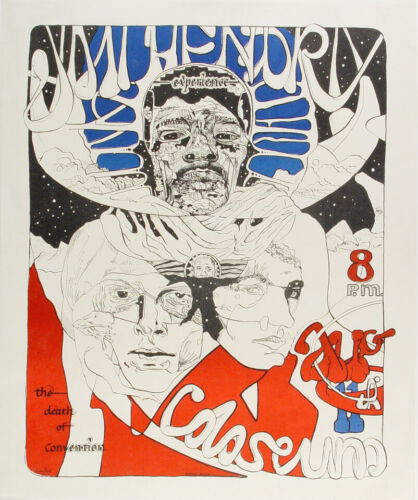 Jimi Hendrix Experience 1968 Davenport Concert Poster SIGNED/NUMBERED 2XX/1500