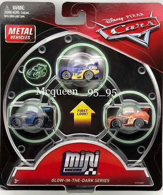 DISNEY PIXAR CARS 3 METAL VEHICLES MINI RACERS 3 PACK - GLOW-IN-THE-DARK SERIES