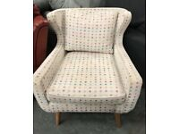 White multi colour dot bedroom accent Chair