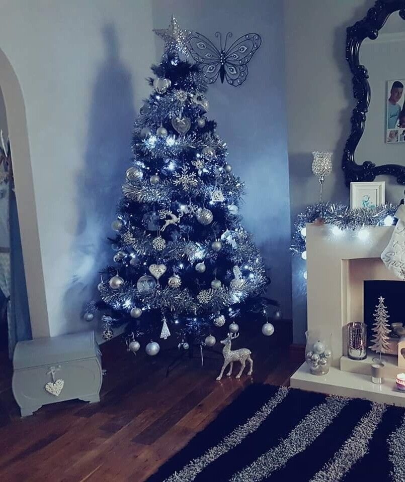 7ft black christmas tree silver tips in sunderland tyne and wear