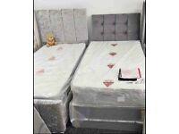 Plush Fabric Single Size Divan Bed & Mattress
