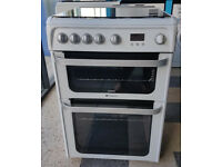x472 white & silver hotpoint 60cm double oven gas cooker comes with warranty can be delivered