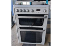 y472 white & silver hotpoint 60cm double oven gas cooker comes with warranty can be delivered