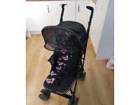 Silver Cross Pop pushchair - black/pink butterflies