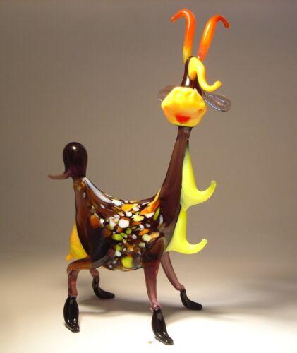 Blown Glass Art Figurine Farm Animal Comic Funny Happy GOAT Statuette