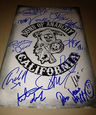 Sons Of Anarchy Cast X14  Authentic Hand Signed 11X17 Photo Charlie Hunnam Proof