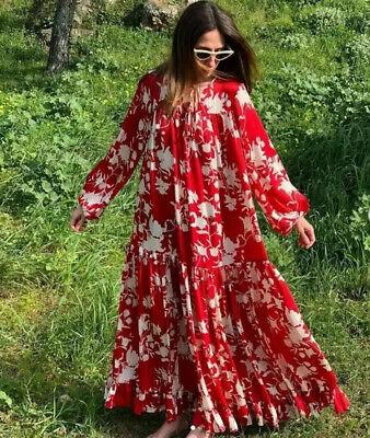 H&M X Johanna Ortiz Red Voluminous Flower Patterned Maxi Dress Size XS BNWT