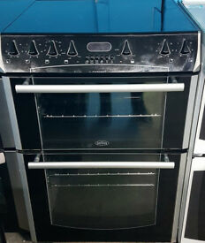 c505 black belling 60cm double oven electric cooker come with warranty can be delivered or collected