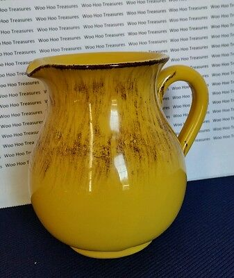 Pottery Milk - Juice - Water Pitcher Made in ITALY Yellow /Gold w/ Brown