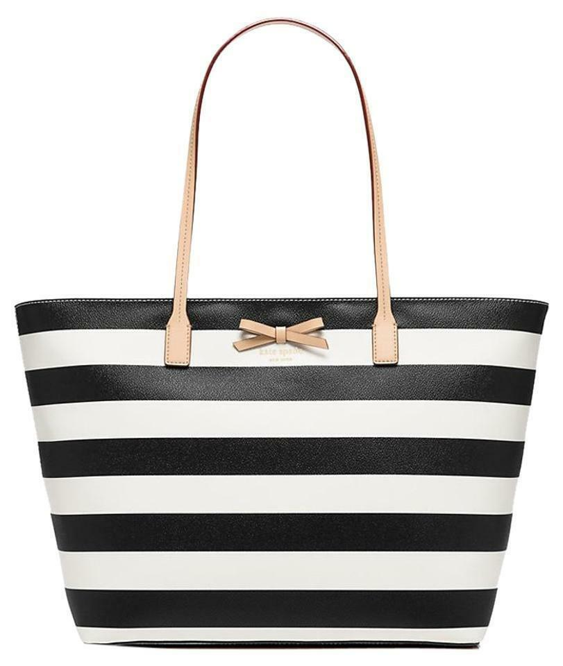 NWT KATE SPADE Sawyer Street MARGARETA Black/Cream Stripe Tote Bag WKRU3867