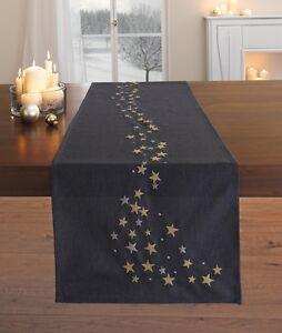 Tischläufer Sternenregen 40 x 150cm Weihnachten, silber, gold, Tischdekoration