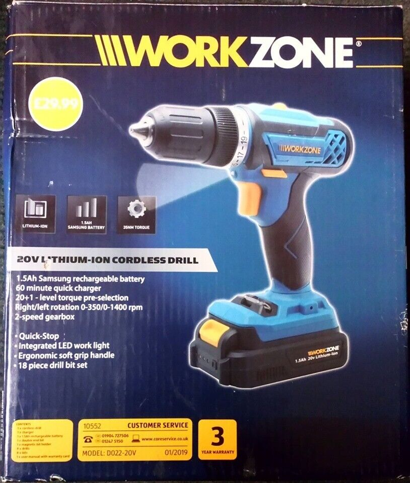 Work Zone 20v Lithium-ion Cordless Drill | in Preston, Lancashire | Gumtree
