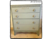 Chest Of 4 Drawers Hand Painted in ANNIE SLOAN Olive Chalk Paint