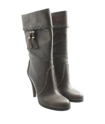 NIB GUCCI BROWN GRAINED LEATHER BAMBOO GOLD TASSELS MIDCALF 219782 BOOTS 39