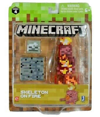 Minecraft Skeleton on Fire With Bedrock Block Series 4 *NEW*