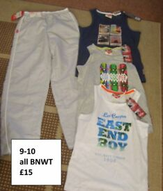 9-10 years vest/t-shirt new with tags trousers BNWT collection from didcot