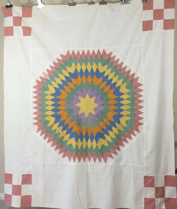 Sunburst Antique Quilt Top with Corner Blocks C. 1930