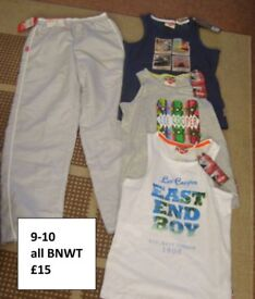 boys new vests /sleeveless tops (£10)summer trousers 9-10 BNWT prices on pics