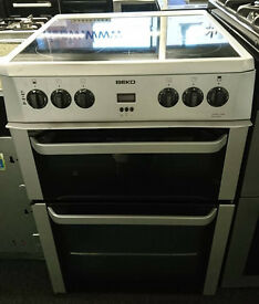 D154 silver beko double oven ceramic hob electric cooker comes with warranty can be delivered