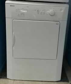 E201 white beko 6kg vented tumble dryer with warranty can be delivered or collected
