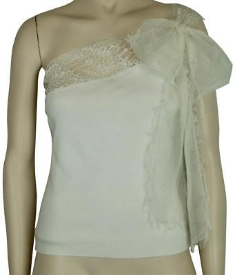 NWT VALENTINO IVORY CREAM SILK TOP BLOUSE ONE SHOULDER LARGE SILK BOW SZ M $1470