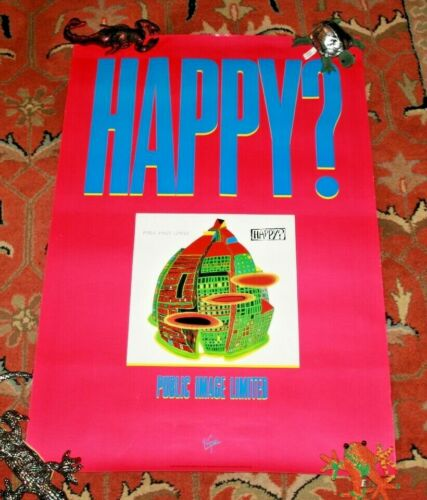 "Public Image Ltd Happy? Orig US PROMO POSTER 35"" x 24"" Rare John Lydon 1987"