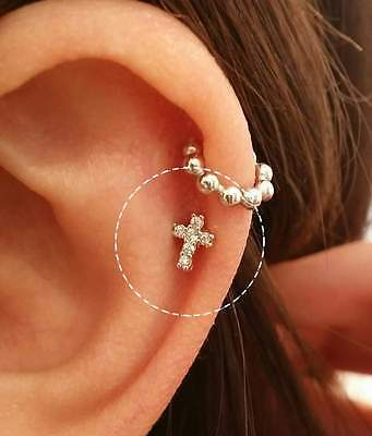 CZ Cross Cartilage earring, dainty tragus, simple design, sparkly gold, conch ()