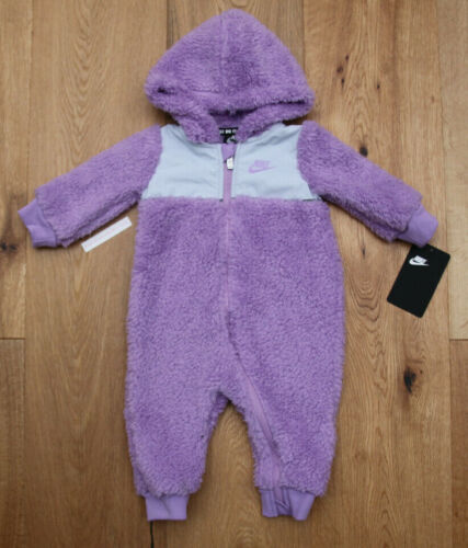 Nike Baby Girl Sherpa Hooded Coverall ~ Lavender & Gray ~
