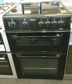 F140 black beko 60cm double oven ceramic hob electric cooker comes with warranty can be delivered
